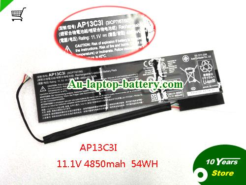 AU Battery for ACER AP13C3i 11.1v 4850mAh 54Wh Rechargeable Li-polymer Battery Pack
