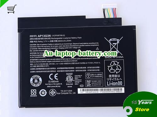 ACER 8.1-inch Tablet battery Battery 6800mAh, 25Wh  3.7V Black Li-Polymer