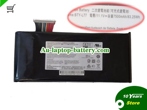 MSI BTY-L77 Battery 7500mAh, 83.25Wh  11.1V Black Li-ion